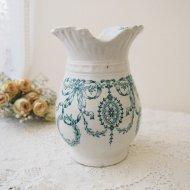 エレガントなリボンの模様の花瓶 グリーン / アンティーク・ヴィンテージ雑貨