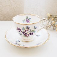 イギリス Royal Albert Violets for Love ロイヤルアルバート ヴァイオレット スミレ カップ&ソーサー / アンティーク・ヴィンテージ雑貨