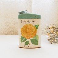 French Moss イエローフラワー タルクパウダー缶 ティンボトル / アンティーク・ヴィンテージ雑貨