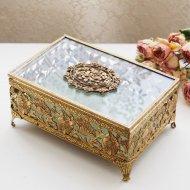 ジュエリーボックス・ケース ガラスの蓋 宝石箱 お花模様  / アンティーク・ヴィンテージ雑貨