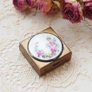 ピンクローズ・薔薇 ミラーの付きの小さなピルケール / アンティーク・ヴィンテージ雑貨