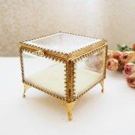 ジュエリーボックス・ケース ガラスの宝石箱 スクウェア  / アンティーク・ヴィンテージ雑貨