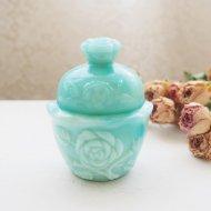 AVON グリーンマーブルのミルクガラス ヴィクトリアンローズのパウダージャー アンティーク・ヴィンテージ雑貨