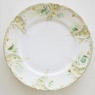 ホワイトフラワー グリーン デザートプレート A / アンティーク・ヴィンテージ雑貨