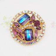 Unsigned Beauty ゴールドトーン パープル&オーロララインストーン ラウンド ブローチ / ヴィンテージジュエリー アクセサリー
