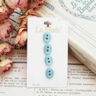 La Mode イタリア ブルー オーバル ボタン4個 /  ヴィンテージ  ハンドメイド素材