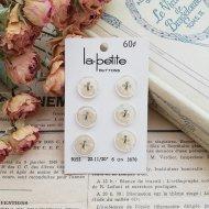 La Petite ホワイト ボタン6個  /  ヴィンテージ  ハンドメイド素材