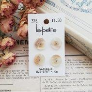 La Petite ベージュマーブル ボタン4個 /  ヴィンテージ  ハンドメイド素材