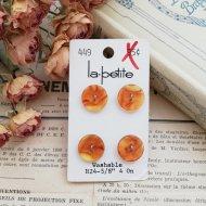 La Petite ブラウン マーブル ボタン4個  /  ヴィンテージ  ハンドメイド素材