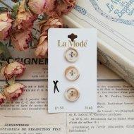 La Mode オランダ ベージュマーブルボタン3個  /  ヴィンテージ  ハンドメイド素材