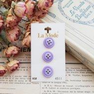 La Mode イタリア パープル ボタン3個  /  ヴィンテージ  ハンドメイド素材