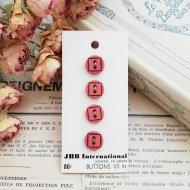JHB International 朱色 ボタン4個 /  ヴィンテージ  ハンドメイド素材