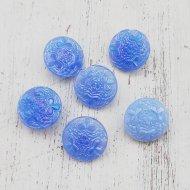 ヴィンテージ チェコ ブルー ガラス ボタン【1個】 /  ヴィンテージ  ハンドメイド素材
