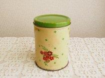 Empeco  グリーン&クリームイエロー オレンジのお花のティン缶
