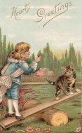 アンティーク ポストカード 猫と男の子 Heart Greetings
