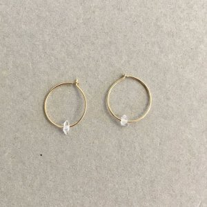 【source:Margaret Solow 】Small Herkimer Diamond Hoops