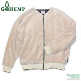 GOHEMP(レディース)『NO COLLAR JACKET / SOFT BOA & H/C BORDER』【CREAM】