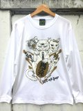 神眼芸術『Lucky cat』Long sleeve T-shirt White