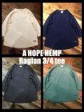 A HOPE HEMP「ラグラン3/4 TEE」ヘンプ 7分袖