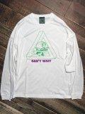 神眼芸術『Hamburger kun』Long sleeve T-shirt ビッグシルエット (White)