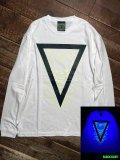 神眼芸術『Triangle』Long sleeve T-shirt (White) Glow in the Dark