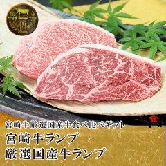 【食べ比べ】[ステーキ]宮崎牛ランプ220g+厳選国産牛ランプ220g