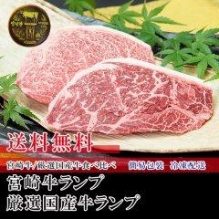 【送料無料】冷凍【食べ比べ/ステーキ】宮崎牛ランプ220g+厳選国産牛ランプ220g