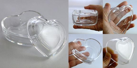 ミニハート -フタ付ガラス小物入れ- ハート型 DT100