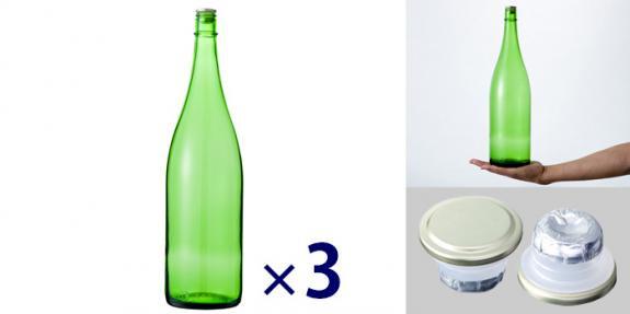 清酒1800-EG(一升瓶) エメラルドグリーン -お得な3本セット-