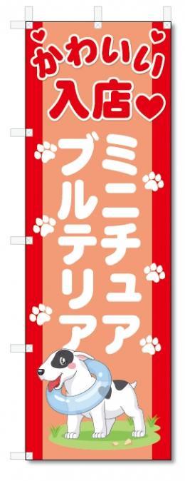 のぼり旗 ミニチュア・ブルテリア (W600×H1800)DOG、犬、ペットショップ