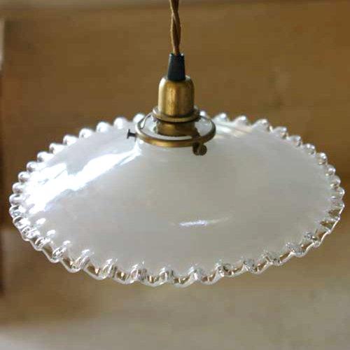 ミルクグラスランプシェード フリル