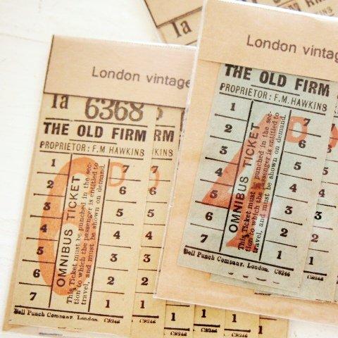 ロンドンの古いバスチケット6枚