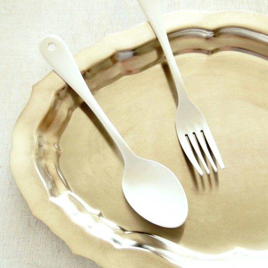 日本の職人さん/白い琺瑯ブラン/デザート/ディナースプーン*フォーク