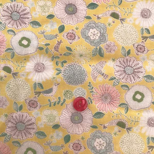 花とトリのダブルガーゼ_イエロー(50cm)