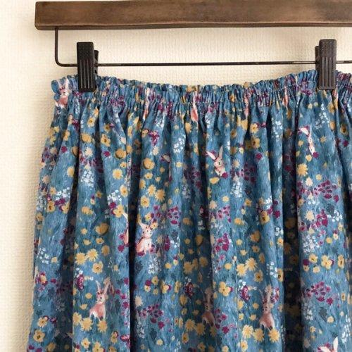 ふんわりギャザースカート ウサギと花 ブルー