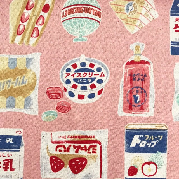 レトロおやつの布 (50cm) ピンク