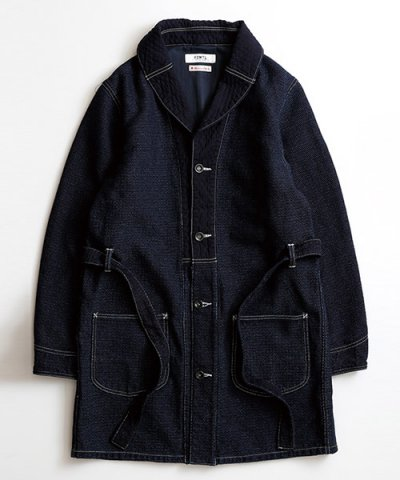 FDMTL / INDIGO SHAWL COLLAR COAT