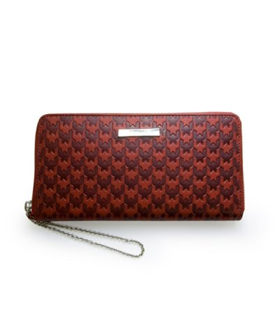GARNI / Hound Tooth Zip Long Wallet:Red