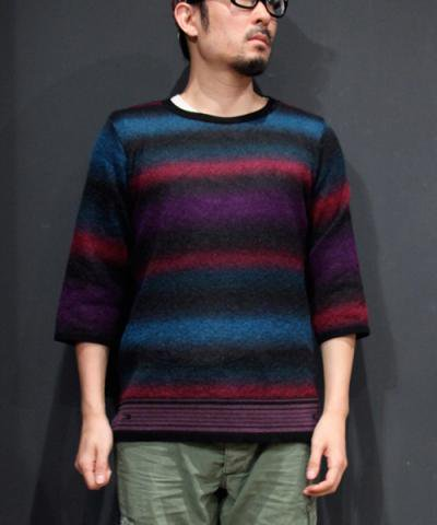 EOTOTO / MOHAIR MULTI BORDER KNIT