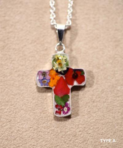 IMPORT / FLOWER CROSS NACKLACE-L
