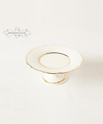 ANTHROPOLOGIE / Gold-Trimmed Cupcake Stand