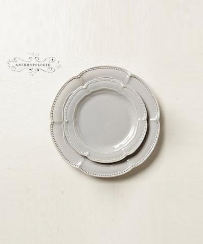 ANTHROPOLOGIE / Demi Fleur Dinner Plate GREY DINNER
