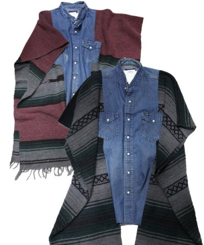 Old Park / RUG SHIRT PONCHO DENIM