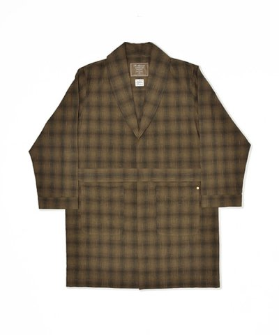 ANACHRONORM / OMBRE PLAID SHAWL COLLAR SHIRT-GAWN