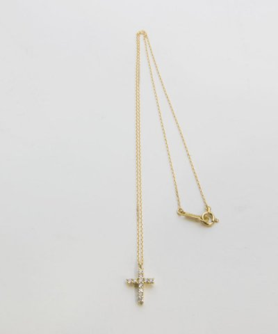 GARNI / K18YG MM Cross Pendant-Clear