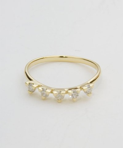 GARNI / K18YG Triangle Five Dia Ring