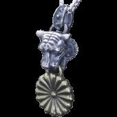 【龍頭】<br />虎×菊トップ<br>銀×真鍮<br />- メンズ ペンダント -
