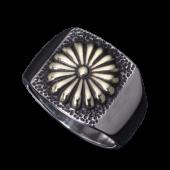 【龍頭】<br />菊印台リング<br />銀×真鍮<br />- メンズ 指輪 リング -