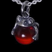 【龍頭】<br />蛙玉ペンダントトップ<br>(Red glass)<br />- メンズ ペンダント -