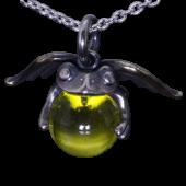 【龍頭】<br />天使蛙玉ペンダントトップ<br>(Yellow  Glass)<br />- メンズ ペンダント -